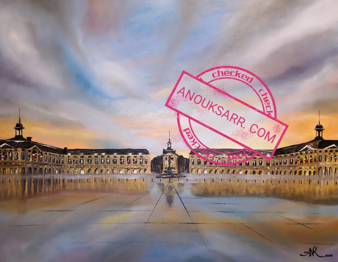 Place de la Bourse, Bordeaux, 90x70 huile sur toile 2018 Anouk Sarr