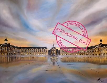 Place de la Bourse, Bordeauxpeinture , huile sur toile, Anouk Sarr