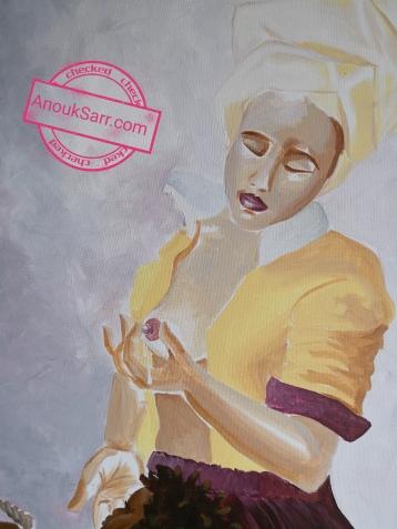 La laitière de Vermeer, réinterprétation peinture acrylique sur toile Anouk Sarr