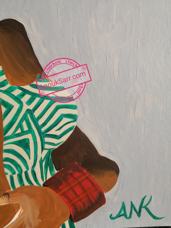 Femme grimaçante, African Queen, peinture Acrylique sur toile, Anouk Sarr