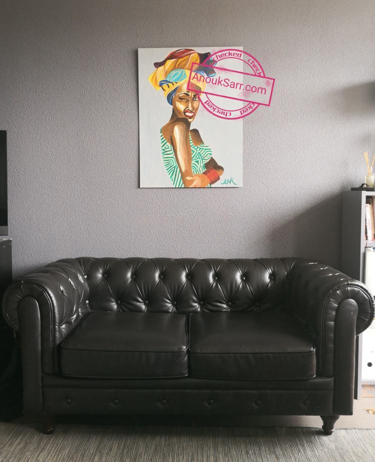 daFemme grimaçante, African Queen, peinture Acrylique sur toile, Anouk Sarr