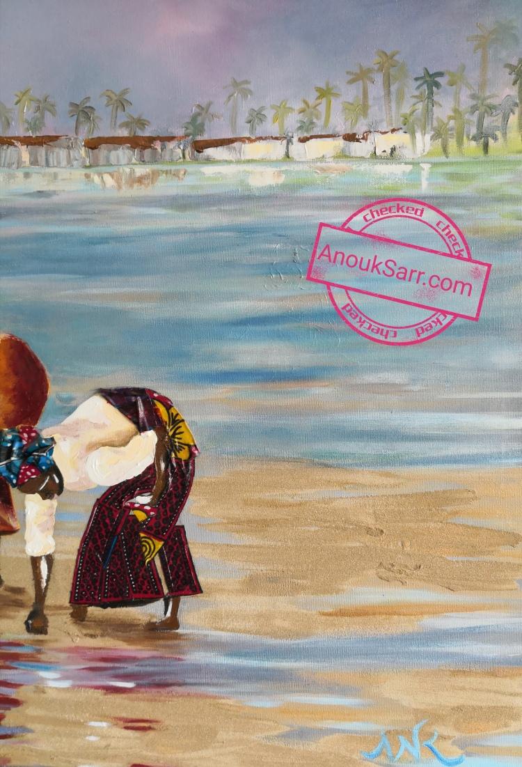 Scene de vie, Dionewar Sénégal, peinture huile sur toile Anouk Sarr