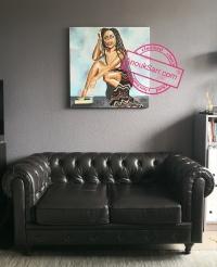 femme grimaçante, African Queen, Acrylique sur toile, collage Anouk Sarr