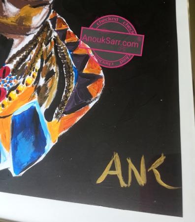 Femme du monde, African Queen, peinture acrylique sur papier, Anouk Sarr