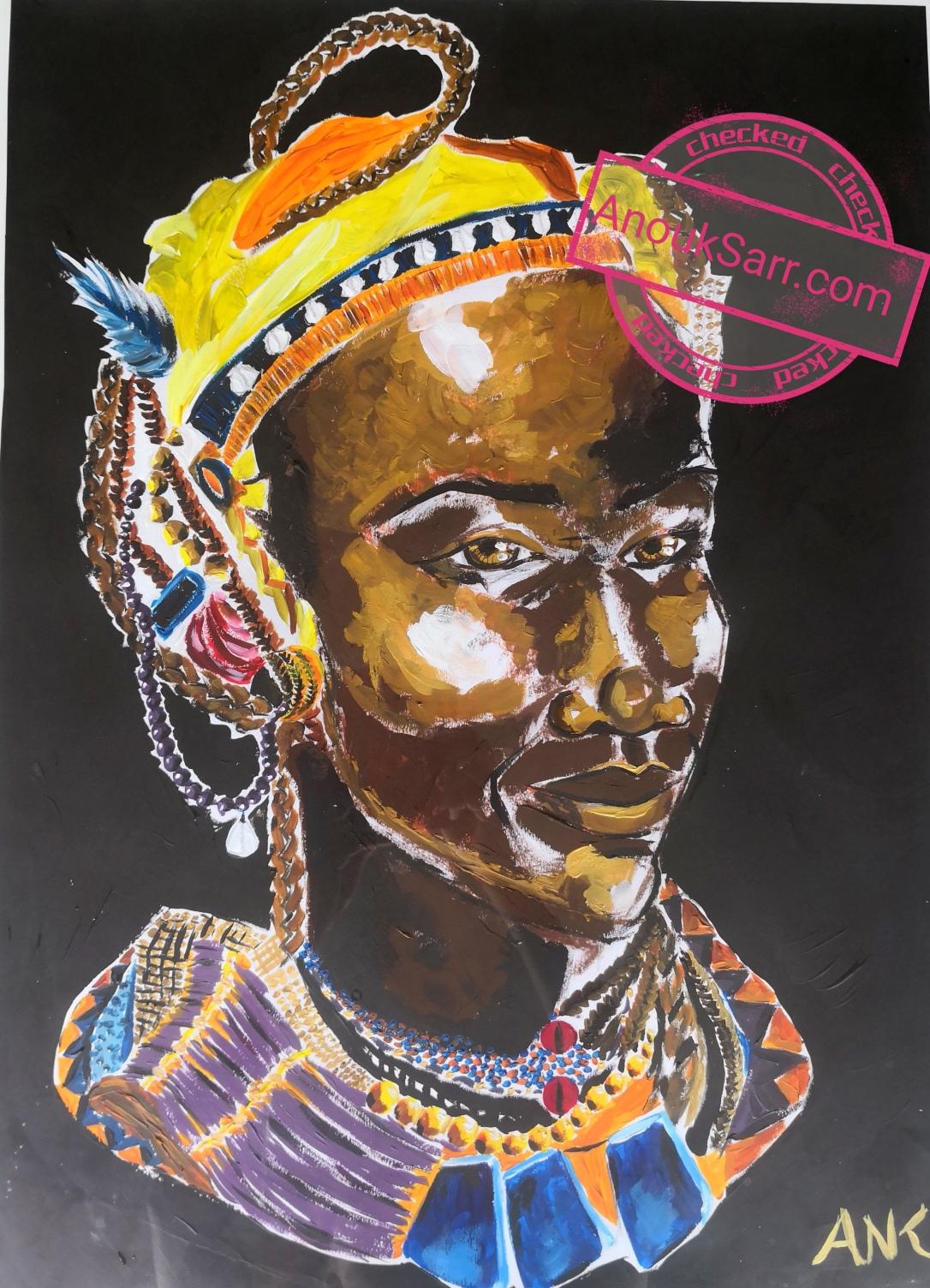 African Queen, acrylique sur papier, 47x65 Anouk Sarr, 2018