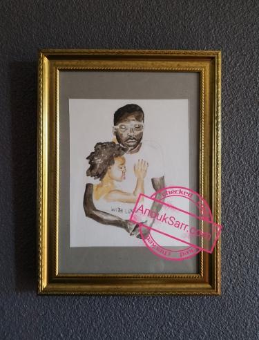aquarelle père fille métisse sénégal papier anouk sarr 2018