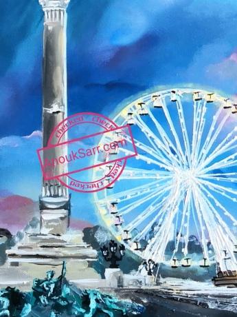 """""""Monument aux Girondins"""", huile sur toile, 60x80 cm, 2018 Anouk Sarr"""