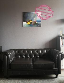 Nature morte aux mangues Anouk Sarr peinture à l'huile Bissap Sénégal