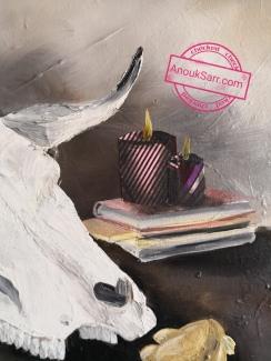 Nature morte crâne de taureau gingembre peinture huile sur toile Anouk Sarr