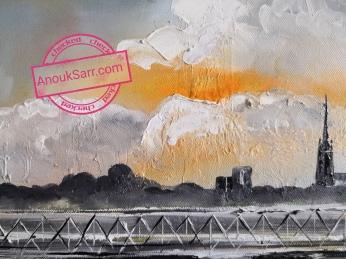 La Passerelle Eiffel, Bordeaux,peinture huile sur toile 60x80cm Anouk Sarr