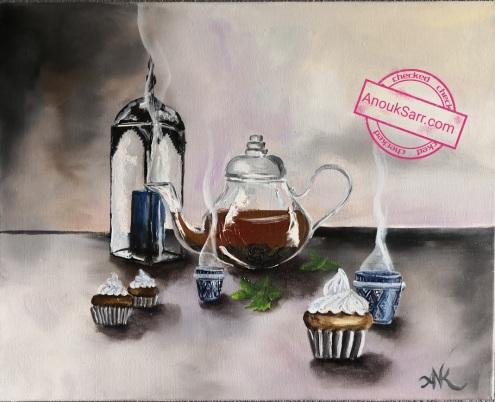 Nature morte au thé à la menthe, peinture à l'huile sur toile, 46x55cm, Anouk Sarr 2018