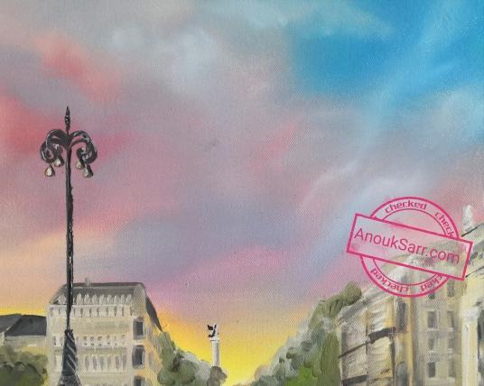 « Place de la Comédie, Bordeaux », peinture huile sur toile, 60x80cm, 2018, Anouk Sarr