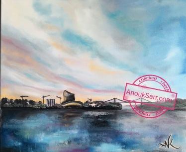Cité Mondiale du Vin, Bordeaux, peinture huile sur toile, 46x55 cm, 2018 Anouk Sarr