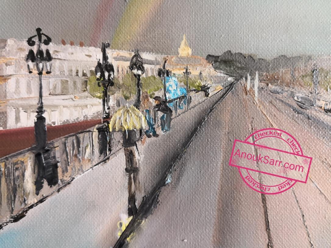 Place Stalingrad de Bordeaux, peinture huile sur toile , 46x55cm Anouk Sarr 2018
