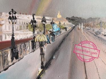 Place Stalingrad de Bordeaux, peinture huile sur toile , 46x55cm Anouk Sarr