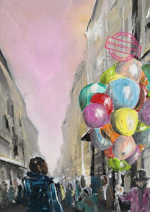 Rue Sainte Catherine Bordeaux peinture huile sur toile 46x55 cm Anouk Sarr 2018