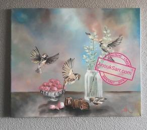 «Nature morte aux oiseaux », 46x55cm, peinture huile sur toile, Anouk Sarr, 2018 Attention! Cette toile est toute fraîche! Achetez-la dès maintenant, elle pourra être expédiée à partir du 1er Février 2019