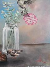 «Nature morte aux oiseaux », 46x55cm, peinture huile sur toile, Anouk Sarr, 2018