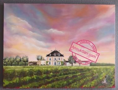 Château Haut Bailly, peinture sur toile 60x80cm Anouk Sarr 2019
