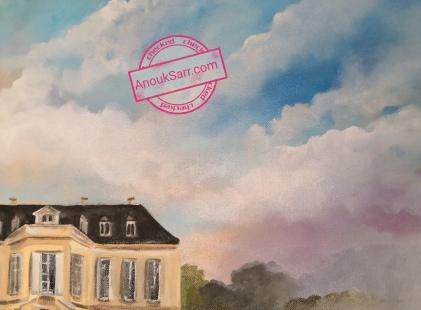 """""""Château La Louvière, Léognan"""", peinture huile sur toile, 60x80cm, Anouk Sarr, 2019"""
