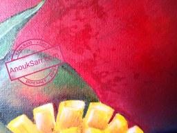 Nature morte aux Mangues sur fond rouge, peinture à l'huile sur toile, 22x30cm, Anouk Sarr, 2019