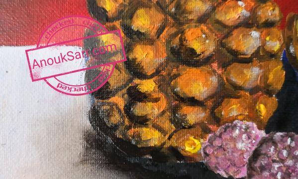 Nature Morte à l'Ananas, huile sur toile, 22x30cm, Anouk Sarr, 2019