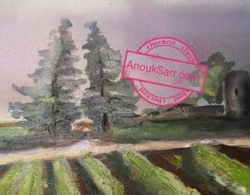 """""""Château d'Eck, Cadaujac"""", peinture huile sur toile, 60x80cm, Anouk Sarr 2019"""