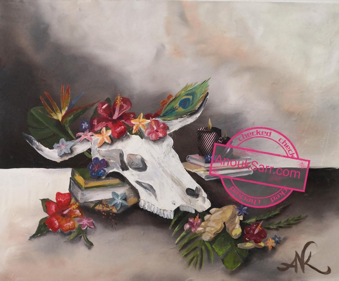 Nature Morte au Crâne de taureau, gingembre et Hibiscus, 50x60cm Peinture huile sur toile Anouk S