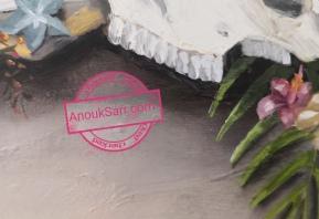 Nature Morte au Crâne de taureau, gingembre et Hibiscus, 50x60cm Peinture huile sur toile Anouk Sarr