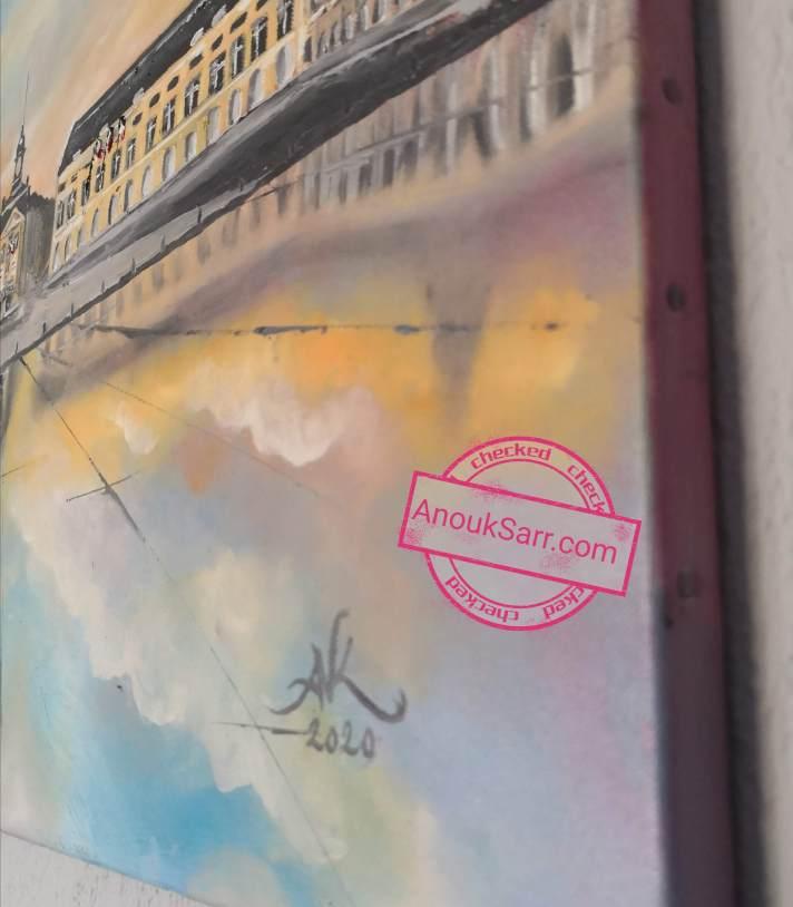 miroir d'eau place de la bourse peinture huile anouk sarr 2020