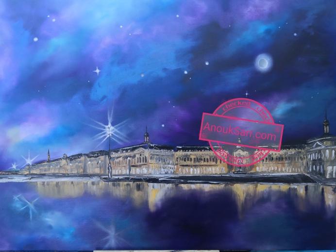 miroir d'eau place de la bourse n3 peinture huile toile anouk sarr 2020