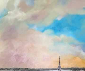"""""""Bordeaux vu du haut de la Tour Pey Berland"""", Peinture huile sur toile, 60x80cm, Anouk Sarr 2020"""