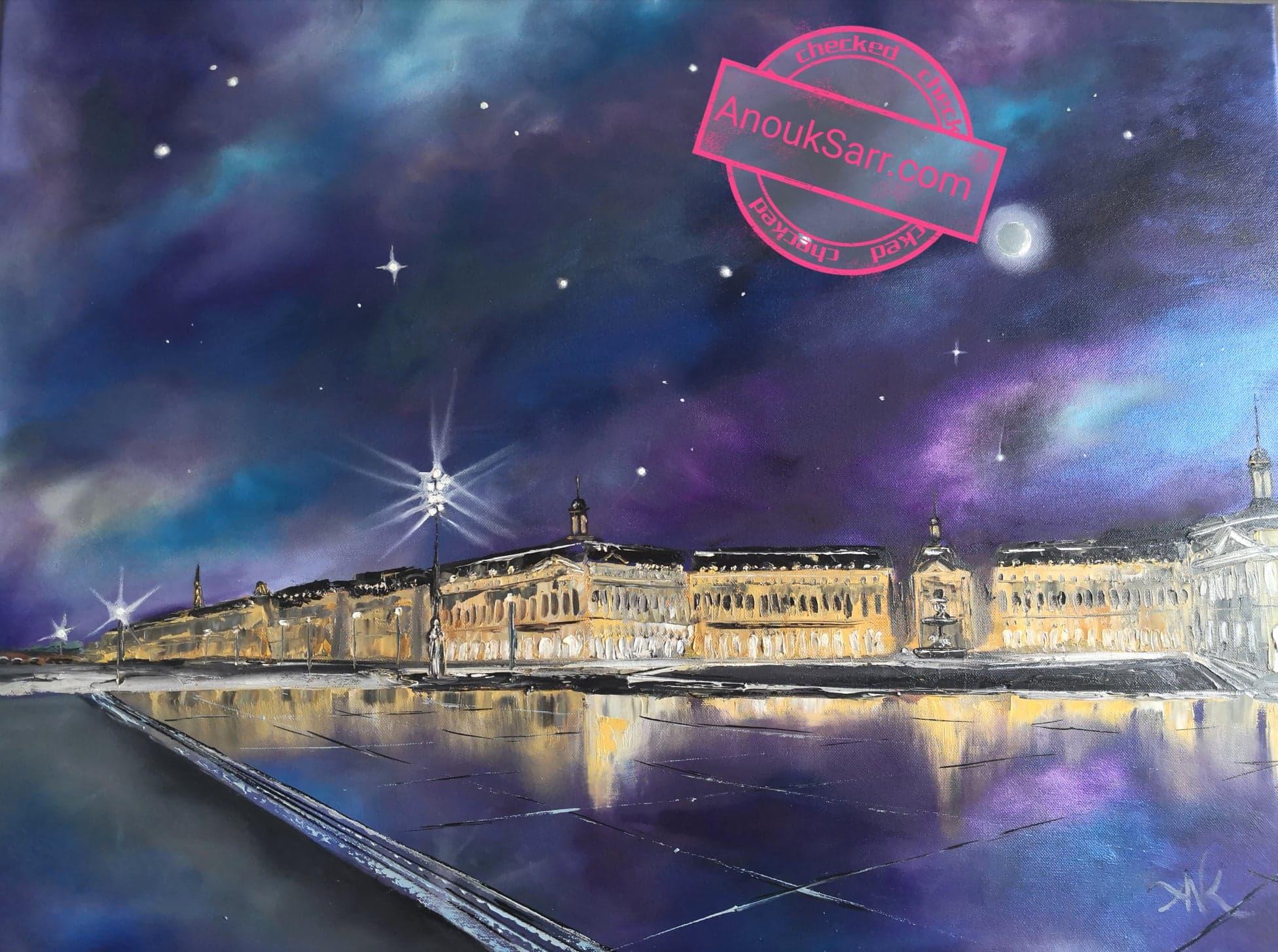 """""""Miroir d'eau de bordeaux, de nuit"""", peinture huile Anouk Sarr 60x80cm, 2020"""