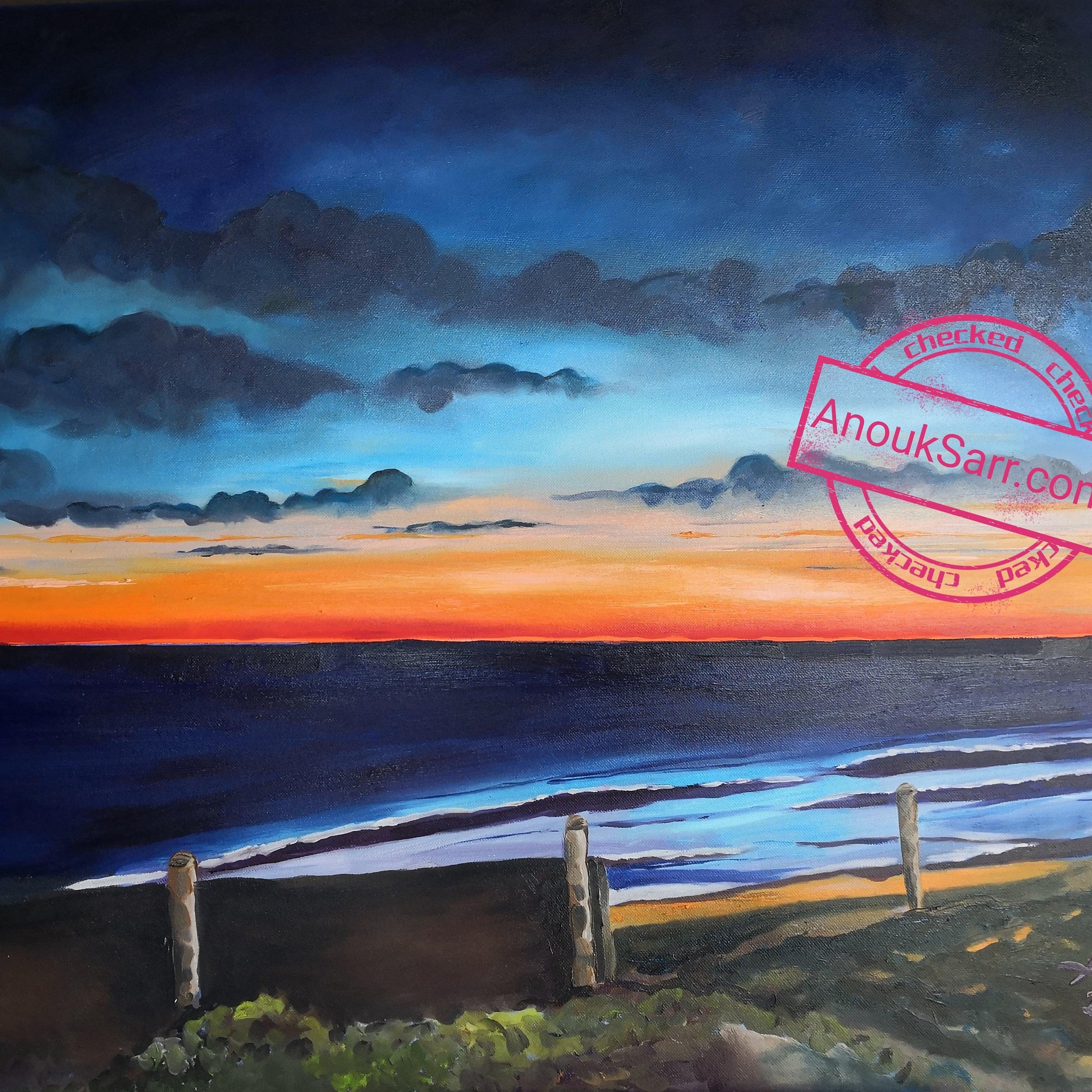 """""""Coucher de Soleil Biscarosse"""", peinture huile sur toile 60x80 Anouk Sarr 2020"""