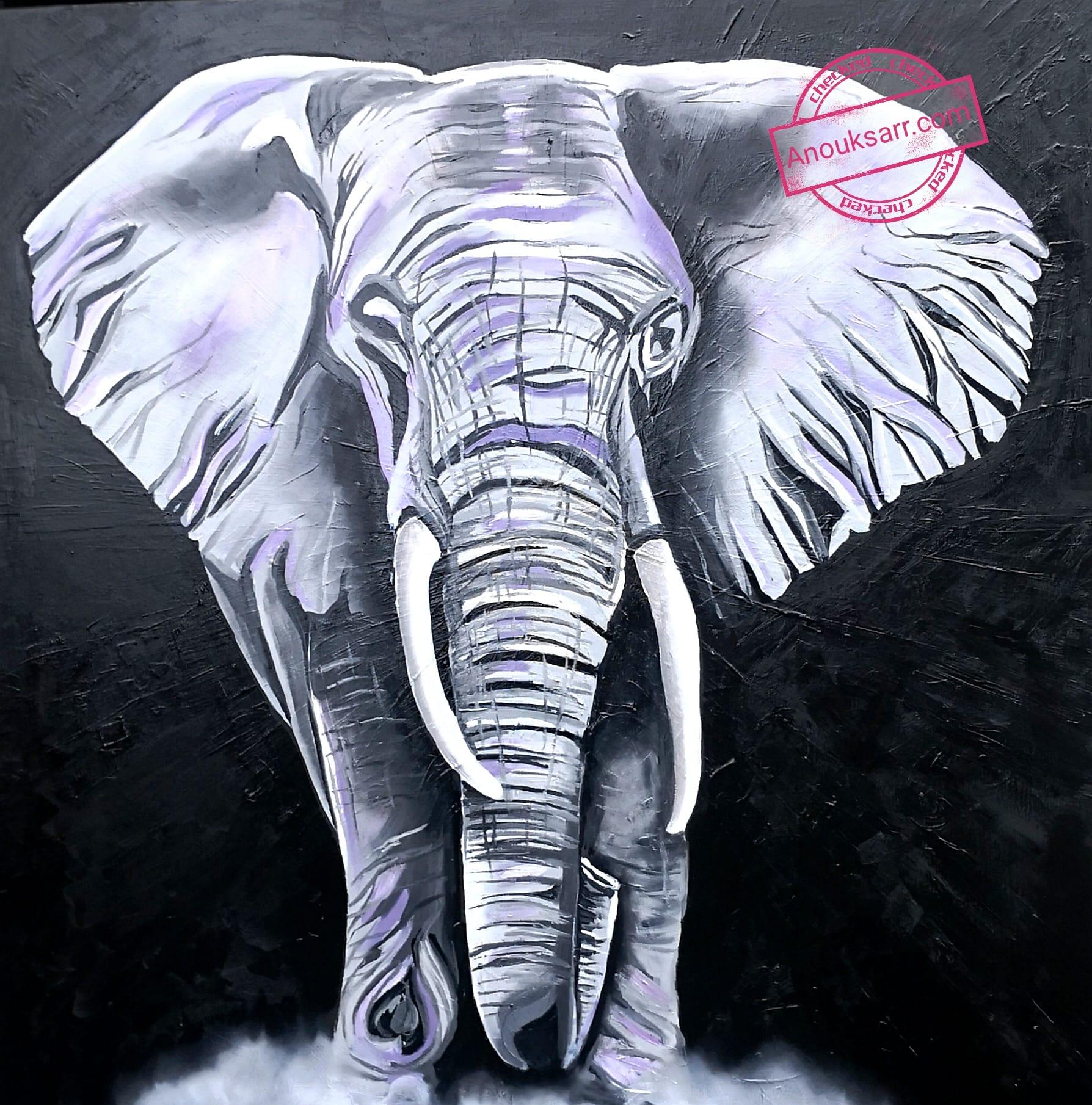 Elephant sur fond noir peinture huile sur toile grand format carré 100 x 100cm Anouk SARR 2021