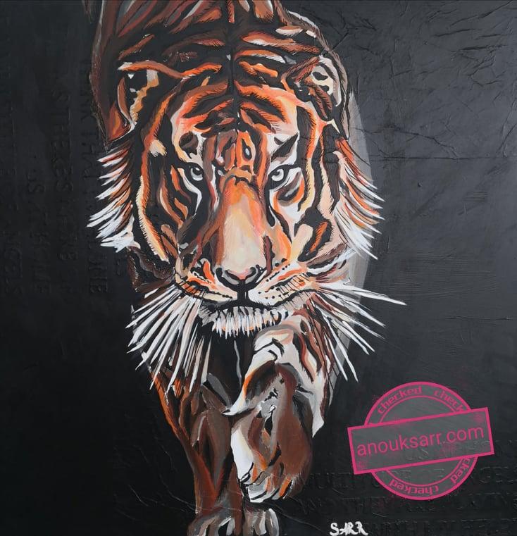 tigre sur fond noir acrylique peinture anouk sarr